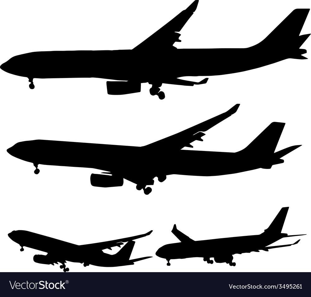 Various planes in black vector | Price: 1 Credit (USD $1)