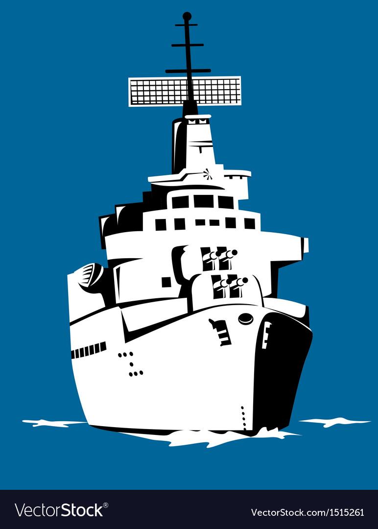 World war two battleship retro vector | Price: 1 Credit (USD $1)