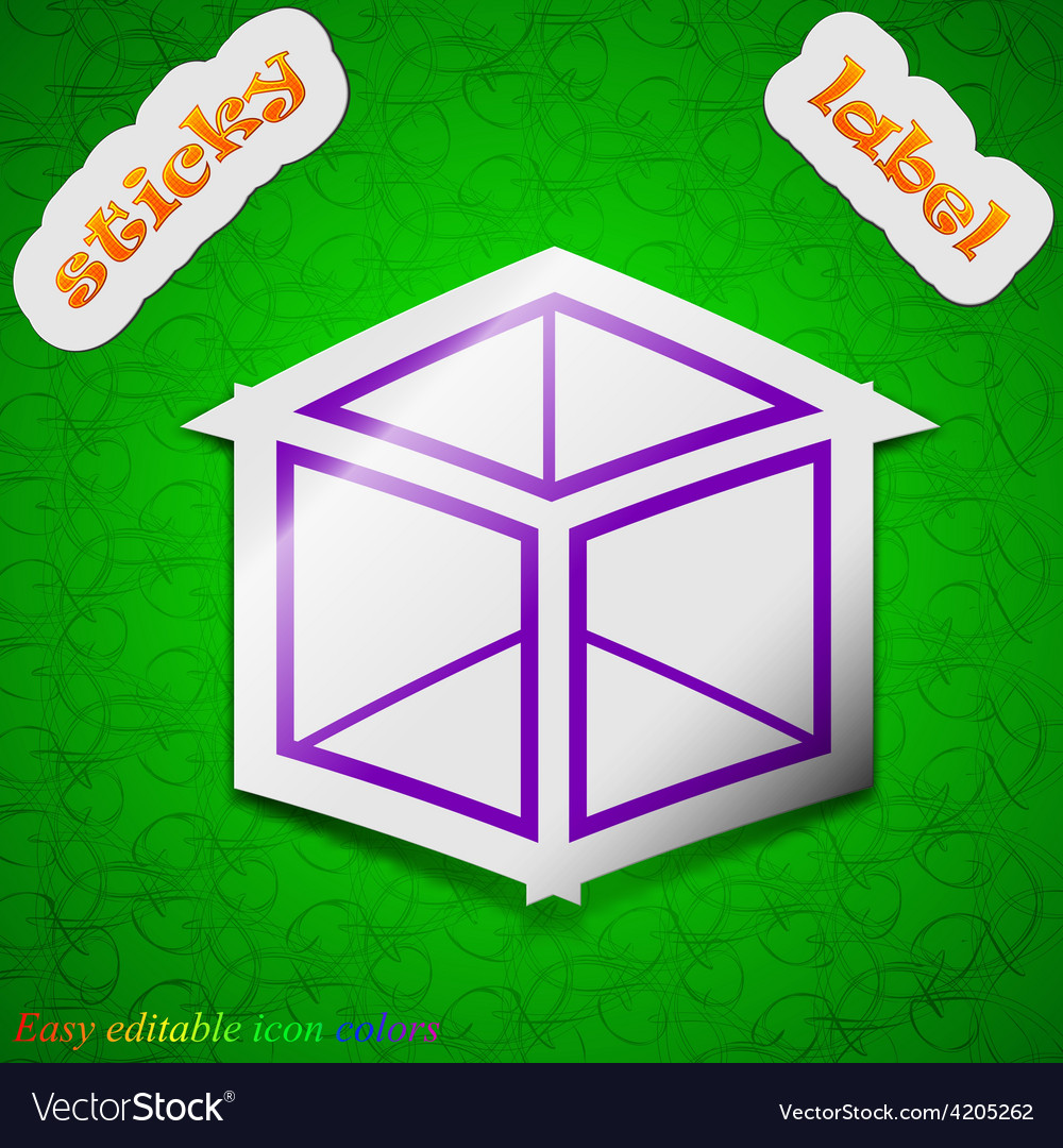 3d cube icon sign symbol chic colored sticky label vector | Price: 1 Credit (USD $1)