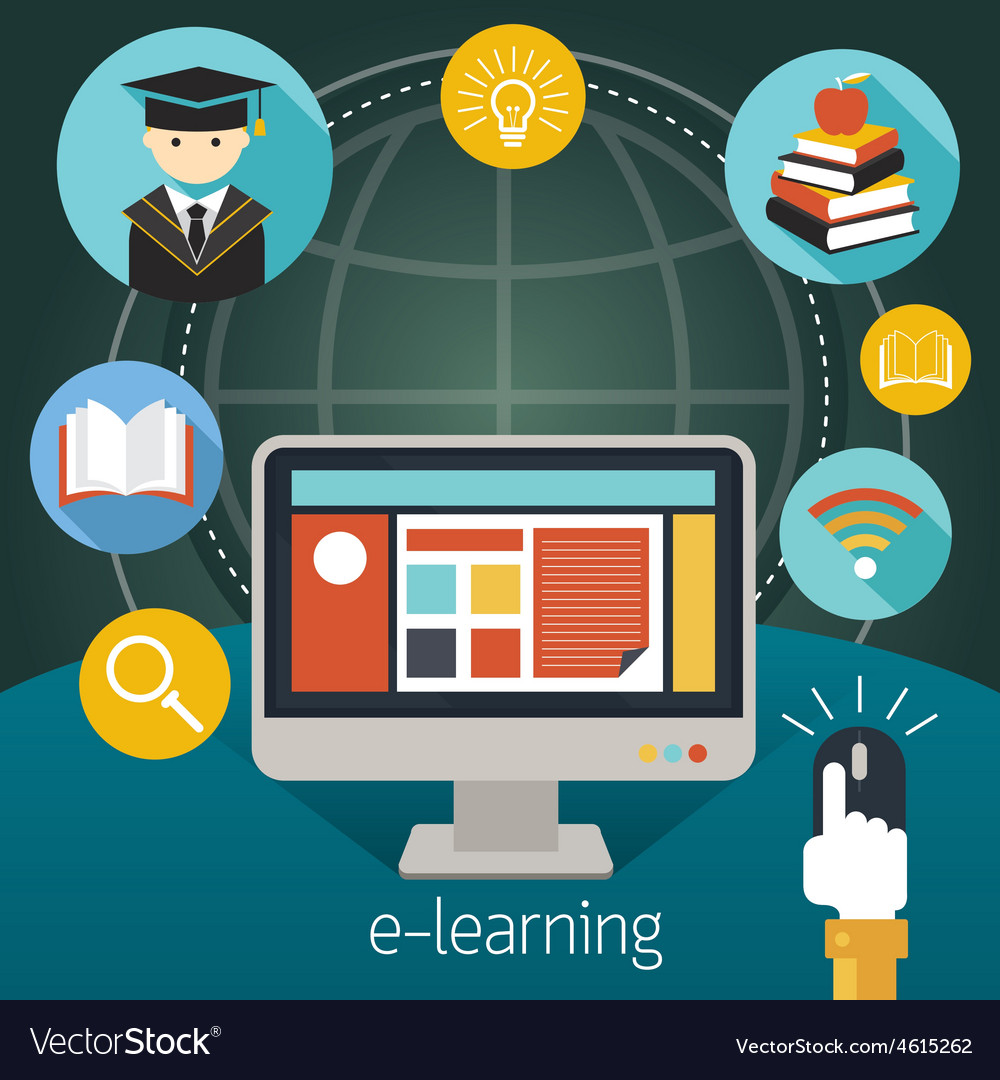 Computer monitor and hand click mouse e-learning vector   Price: 1 Credit (USD $1)