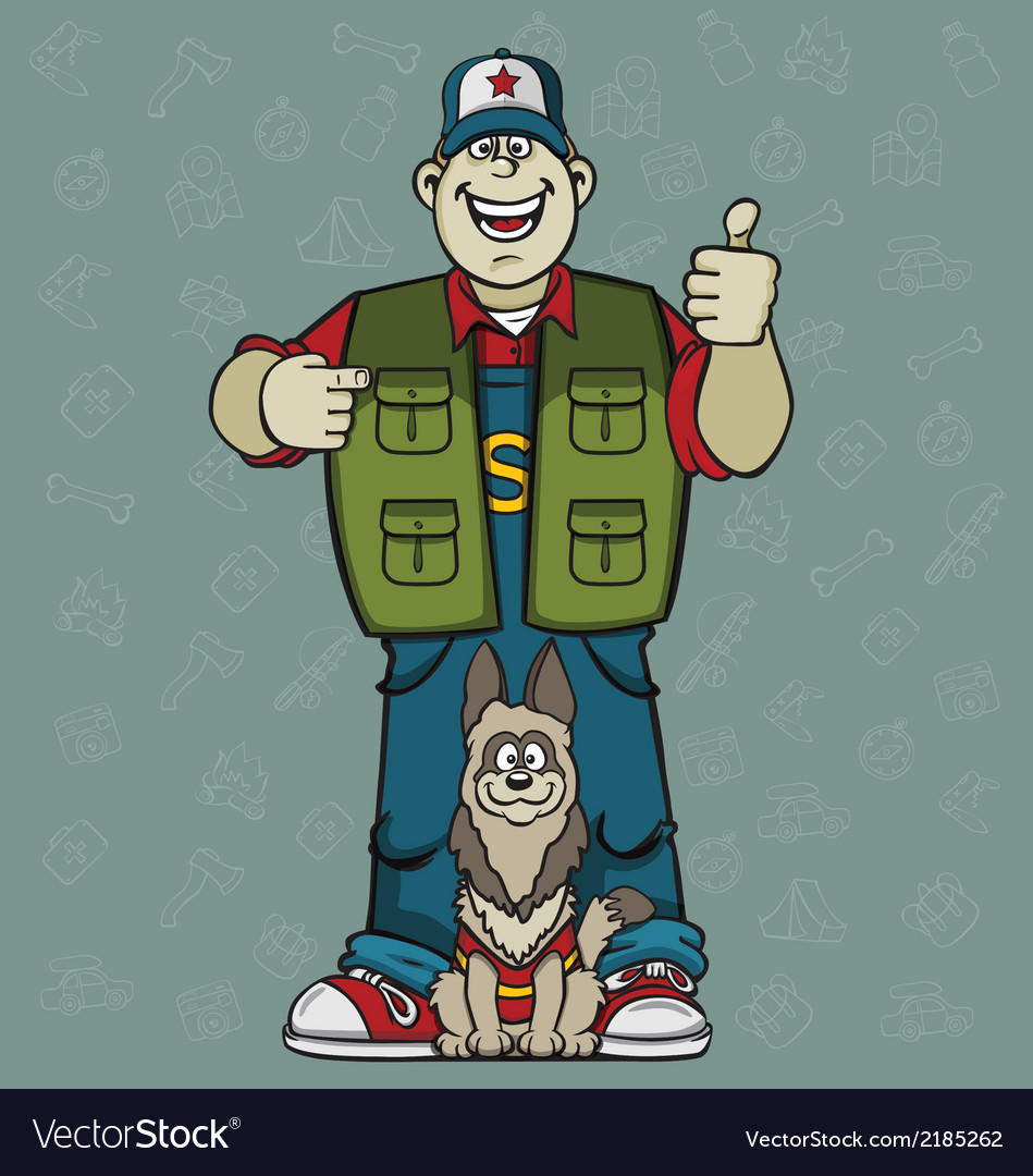 Man with a dog vector | Price: 1 Credit (USD $1)