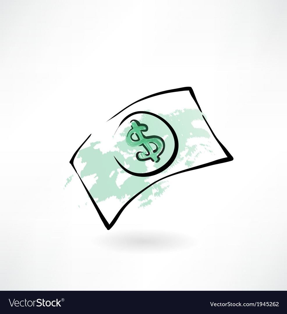 Paper dollar grunge icon vector | Price: 1 Credit (USD $1)