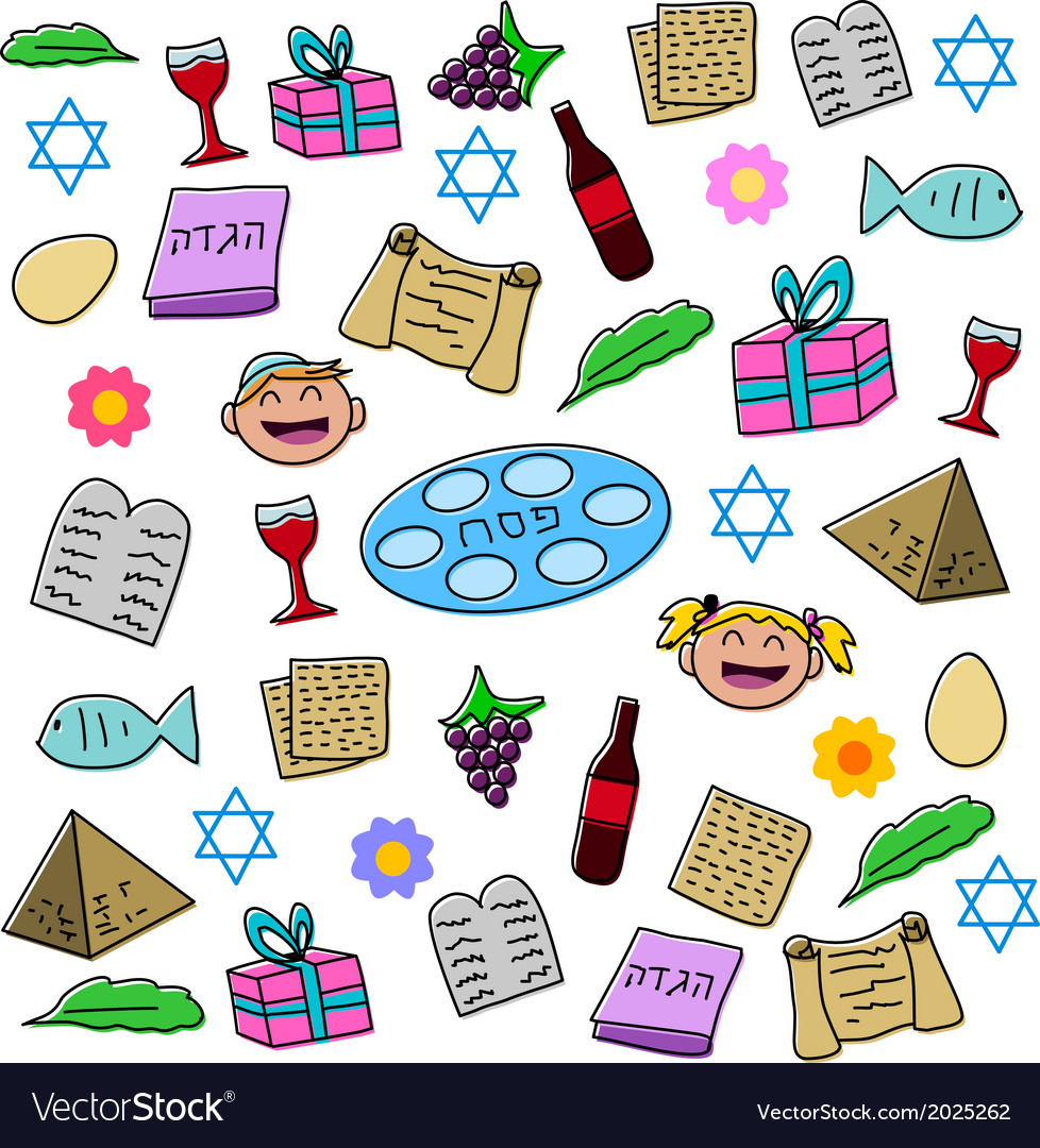 Passover holiday symbols pack vector | Price: 1 Credit (USD $1)
