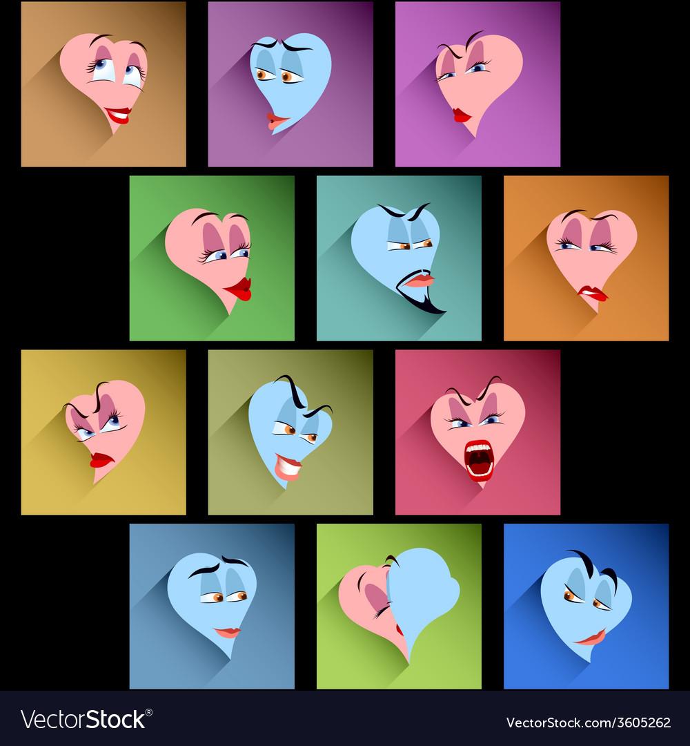 Set heart smile avatar icon emotion flat valentine vector | Price: 1 Credit (USD $1)