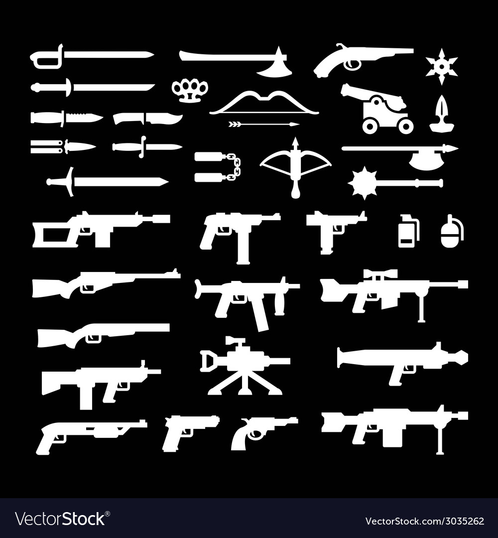 Set icons of weapons vector | Price: 1 Credit (USD $1)