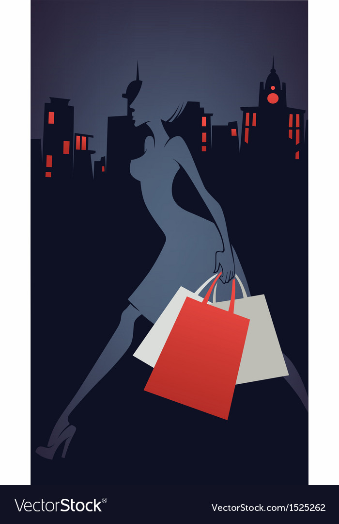 Shopping in the city vector | Price: 1 Credit (USD $1)