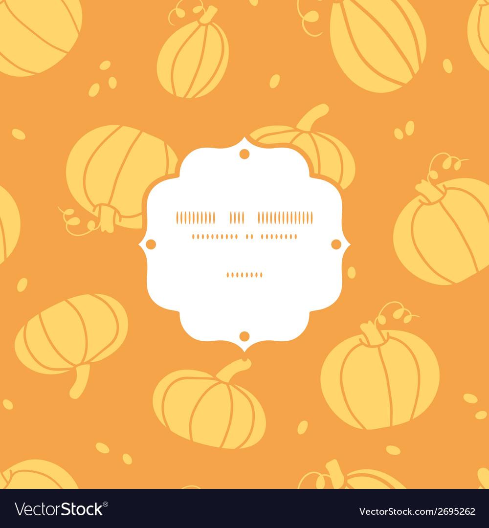 Thanksgiving golden pumpkins frame seamless vector | Price: 1 Credit (USD $1)