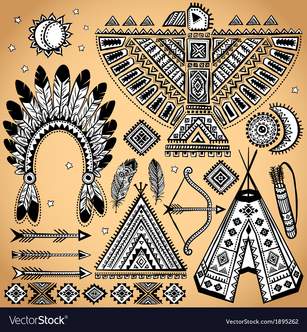 Vintage set of native american symbols vector | Price: 1 Credit (USD $1)