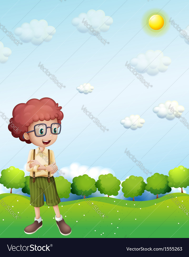 A boy standing under the scorching heat of the sun vector | Price: 3 Credit (USD $3)