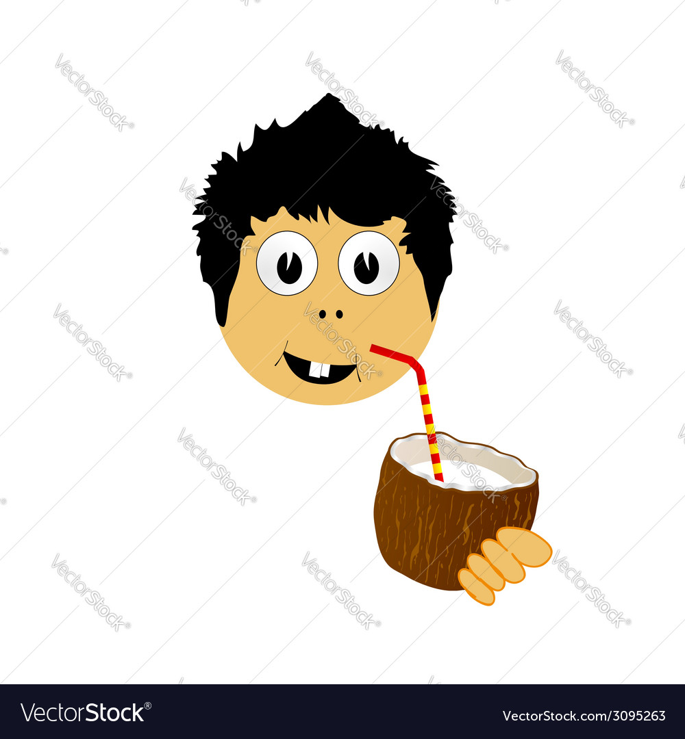 Boy drink coconut milk vector | Price: 1 Credit (USD $1)