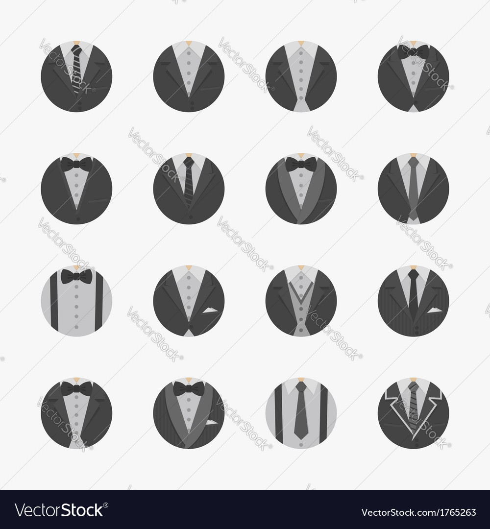 Businessman suit icons with white background vector | Price: 1 Credit (USD $1)