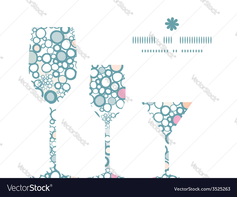 Colorful bubbles three wine glasses silhouettes vector | Price: 1 Credit (USD $1)