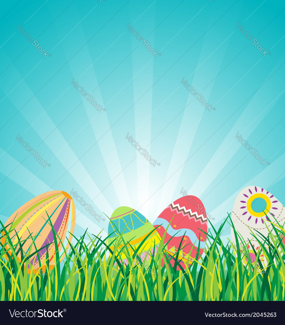 Easter eggs on glasses with blue sky background vector | Price: 1 Credit (USD $1)
