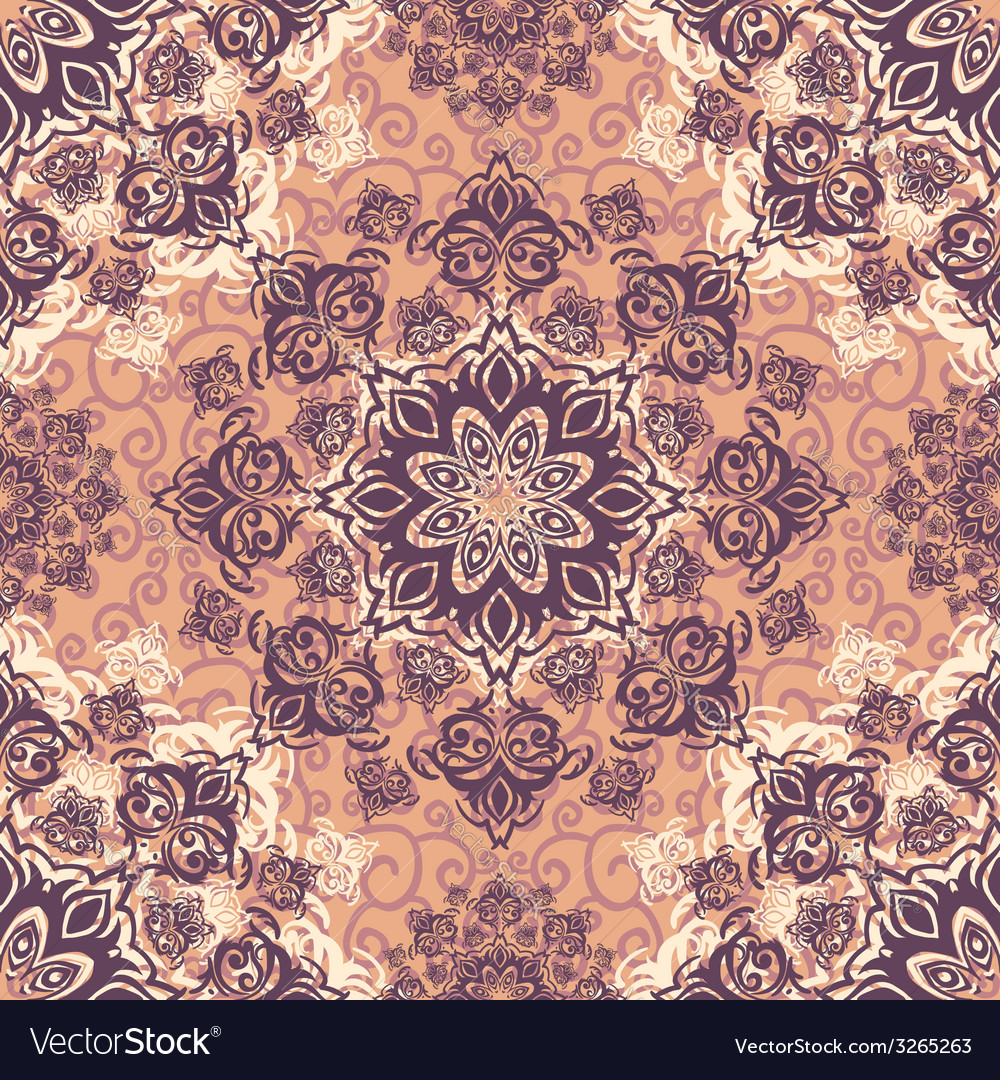 Ector seamless baroque damask luxury background vector | Price: 1 Credit (USD $1)