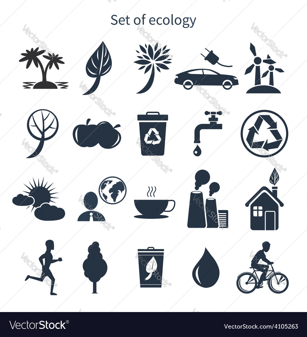 Green energy and ecology icon set vector | Price: 1 Credit (USD $1)