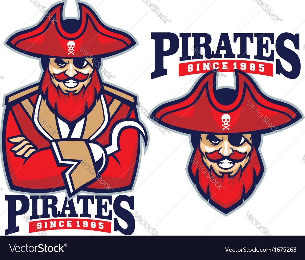 Half body pirate mascot vector | Price: 1 Credit (USD $1)