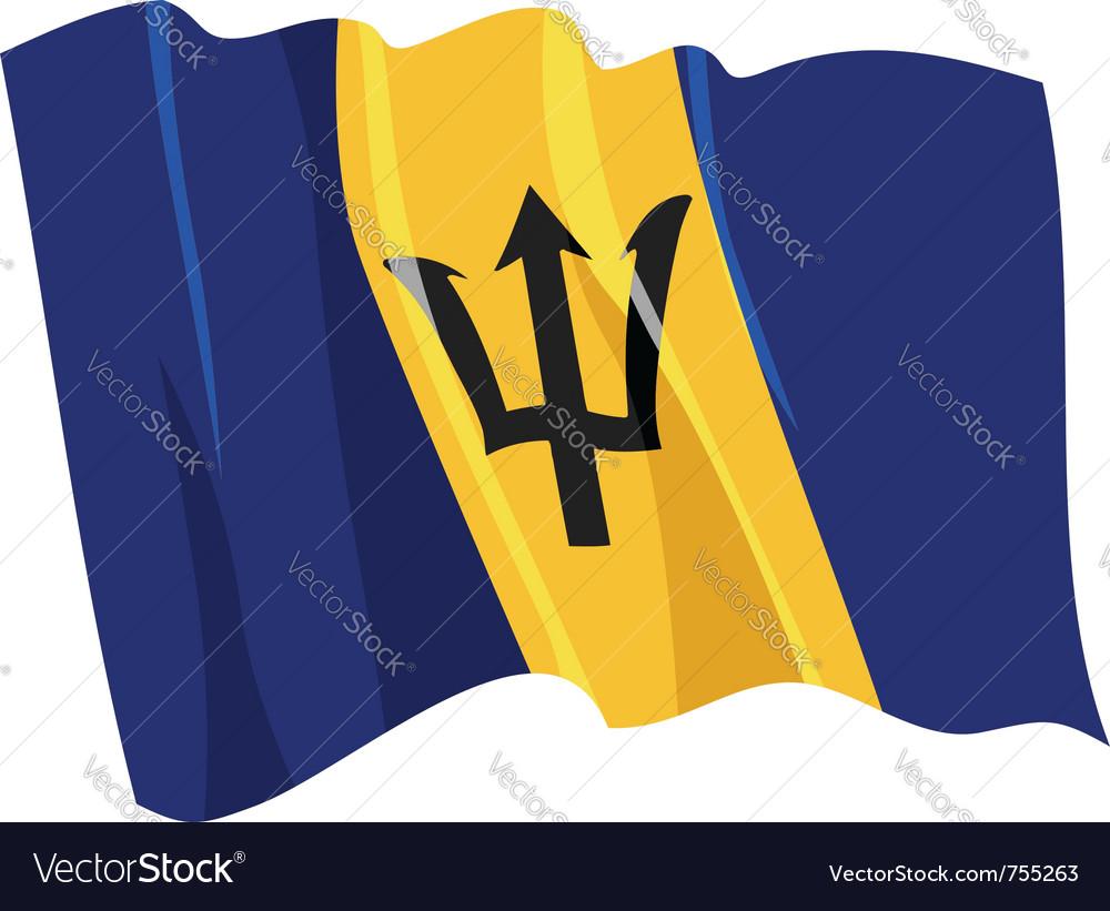 Political waving flag of barbados vector | Price: 1 Credit (USD $1)