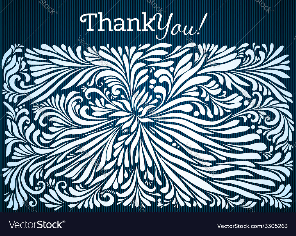 Thank you typographic card with ink floral vector | Price: 1 Credit (USD $1)