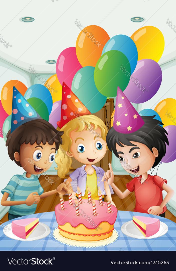 Three kids celebrating a birthday vector | Price: 1 Credit (USD $1)