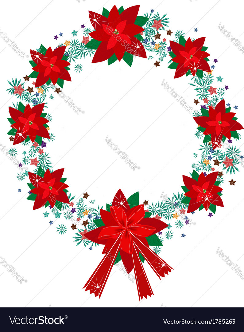 Xmas wreath of red poinsettia flowers and bow vector | Price: 1 Credit (USD $1)