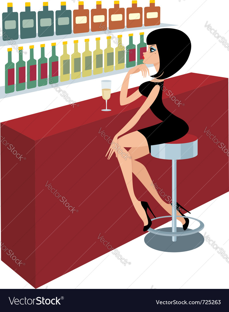 Young woman sits at a bar counter vector | Price: 1 Credit (USD $1)