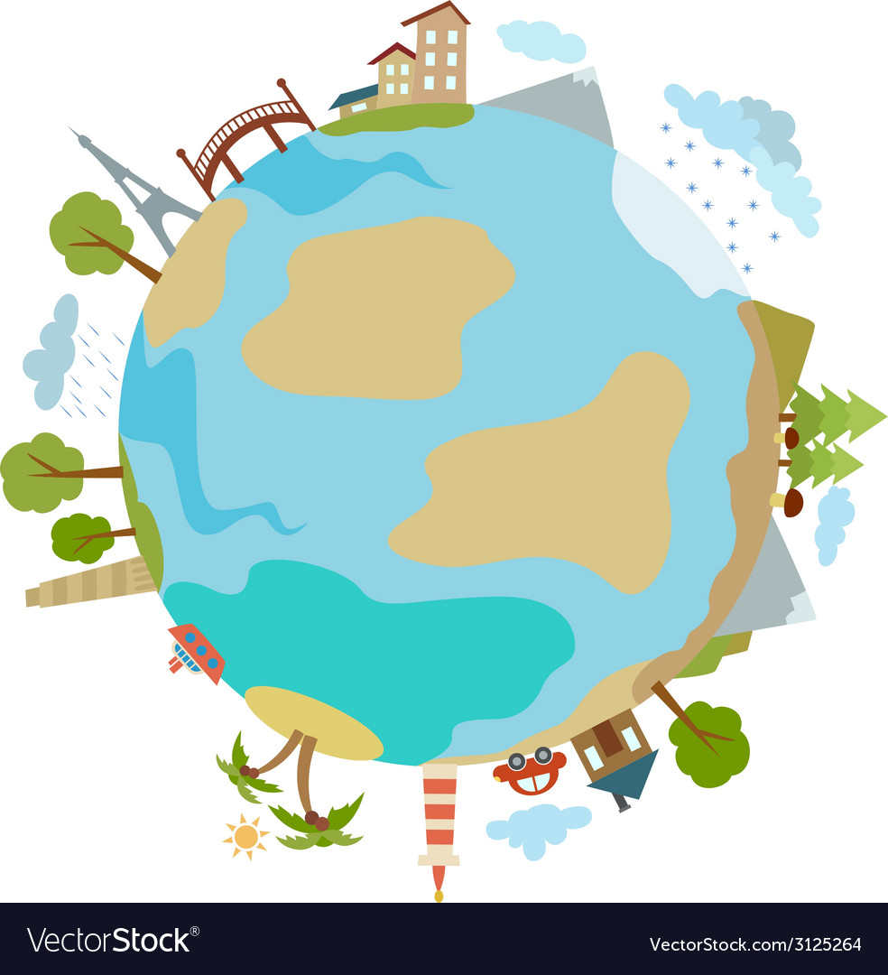 Cute of planet with houses trees buildings made in vector | Price: 1 Credit (USD $1)