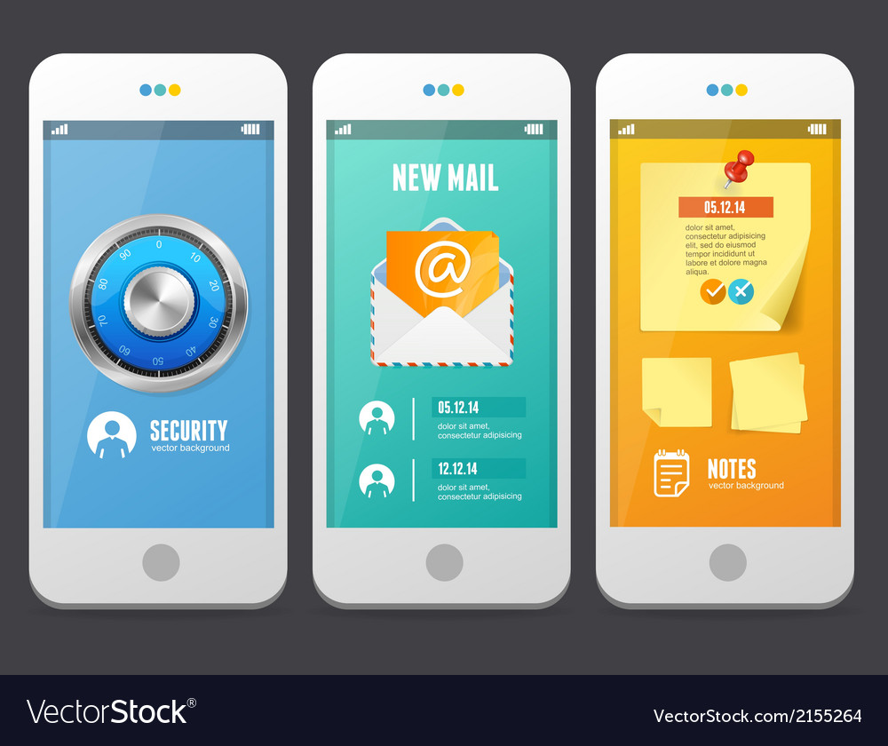 Flat web elements applications templates vector | Price: 1 Credit (USD $1)