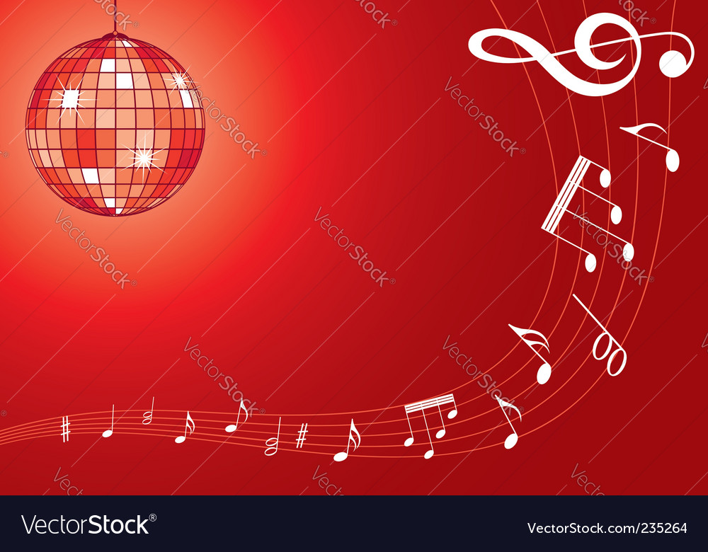 Music background with disco ball vector | Price: 1 Credit (USD $1)