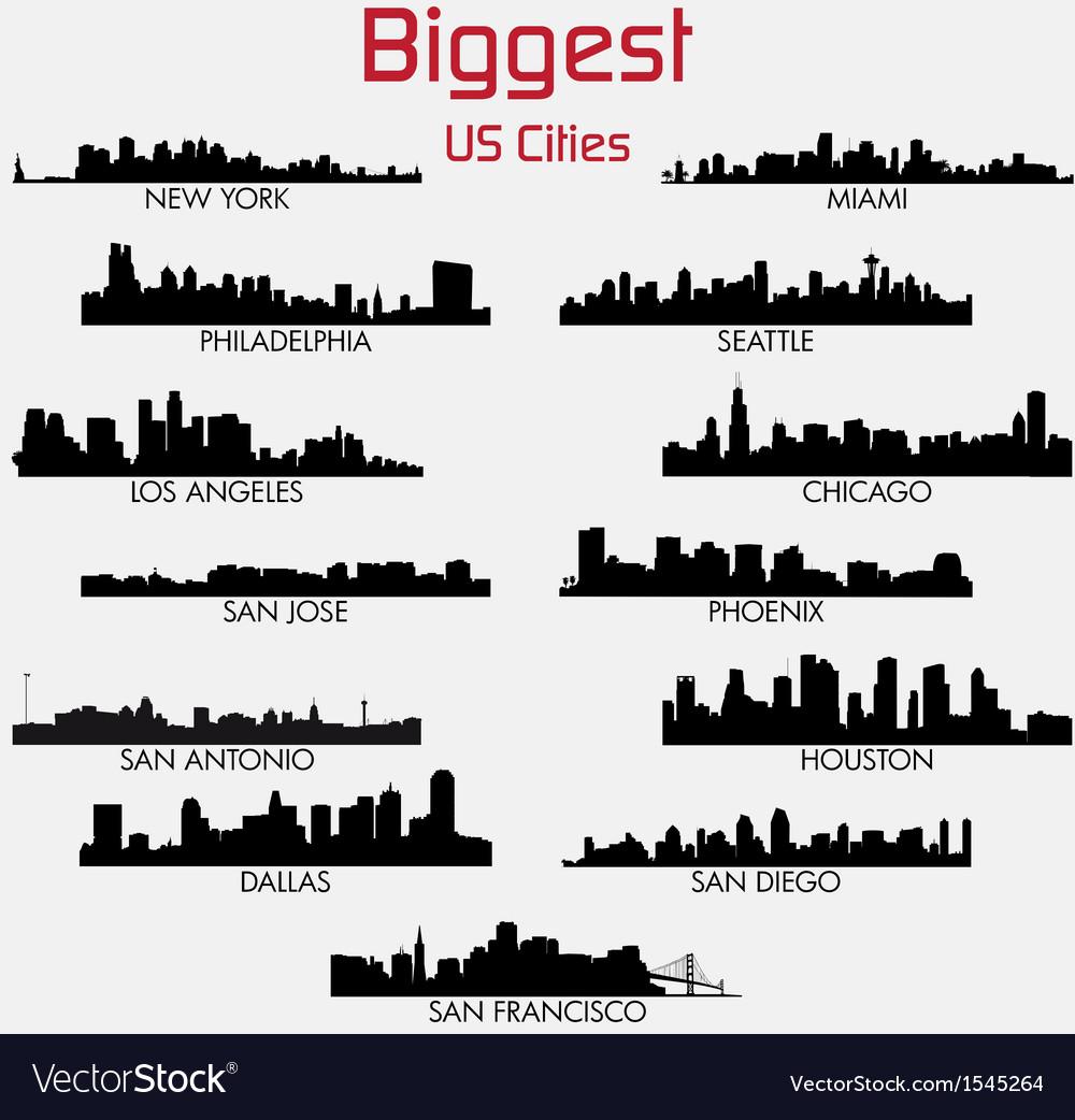Set of biggest american cities skylines vector | Price: 1 Credit (USD $1)