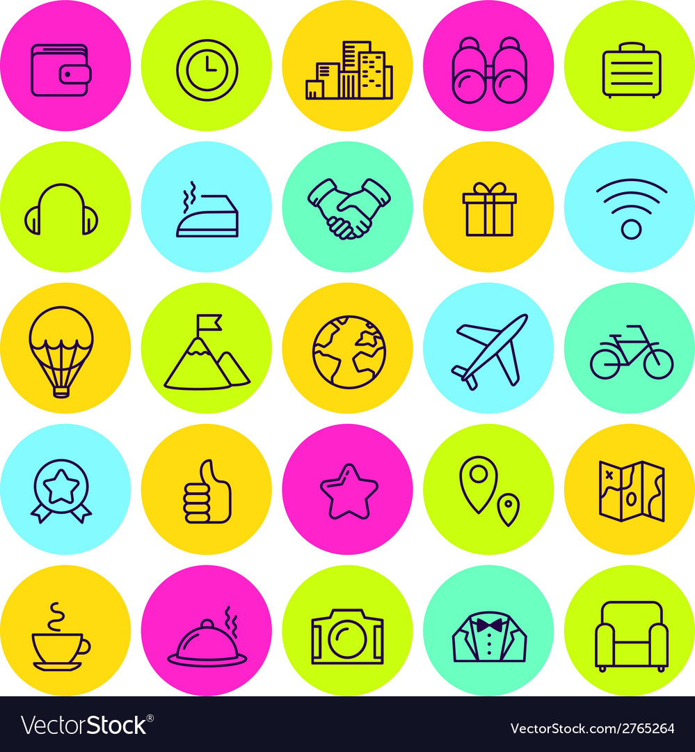 Set of icons of travel tourism vector | Price: 1 Credit (USD $1)