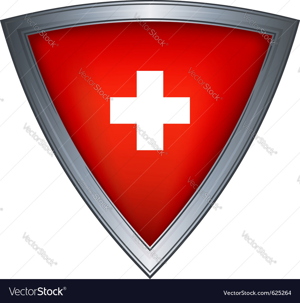 Steel shield with flag switzerland vector | Price: 1 Credit (USD $1)