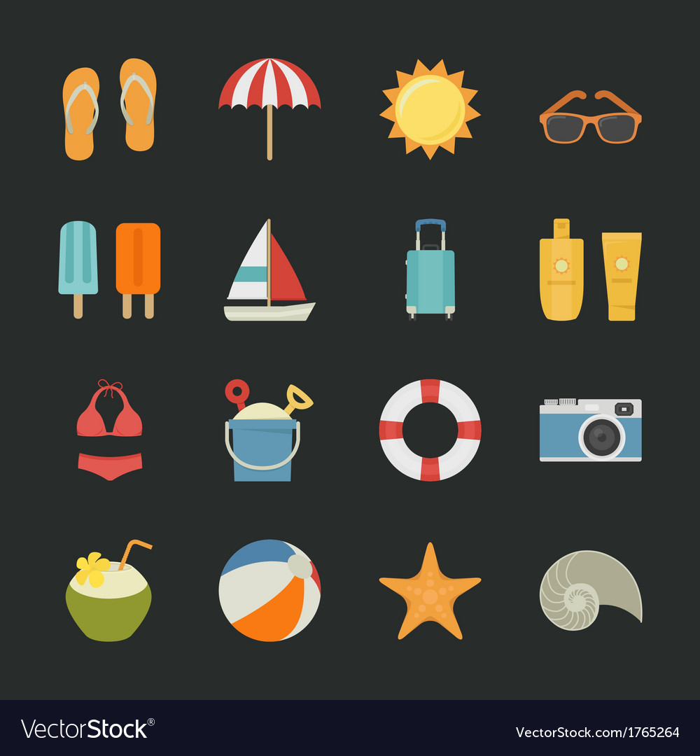 Summer  vacation icons with black background vector | Price: 1 Credit (USD $1)