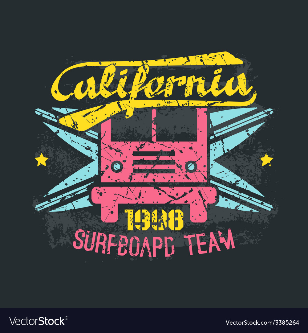 Surfing bus emblem in retro style vector | Price: 1 Credit (USD $1)