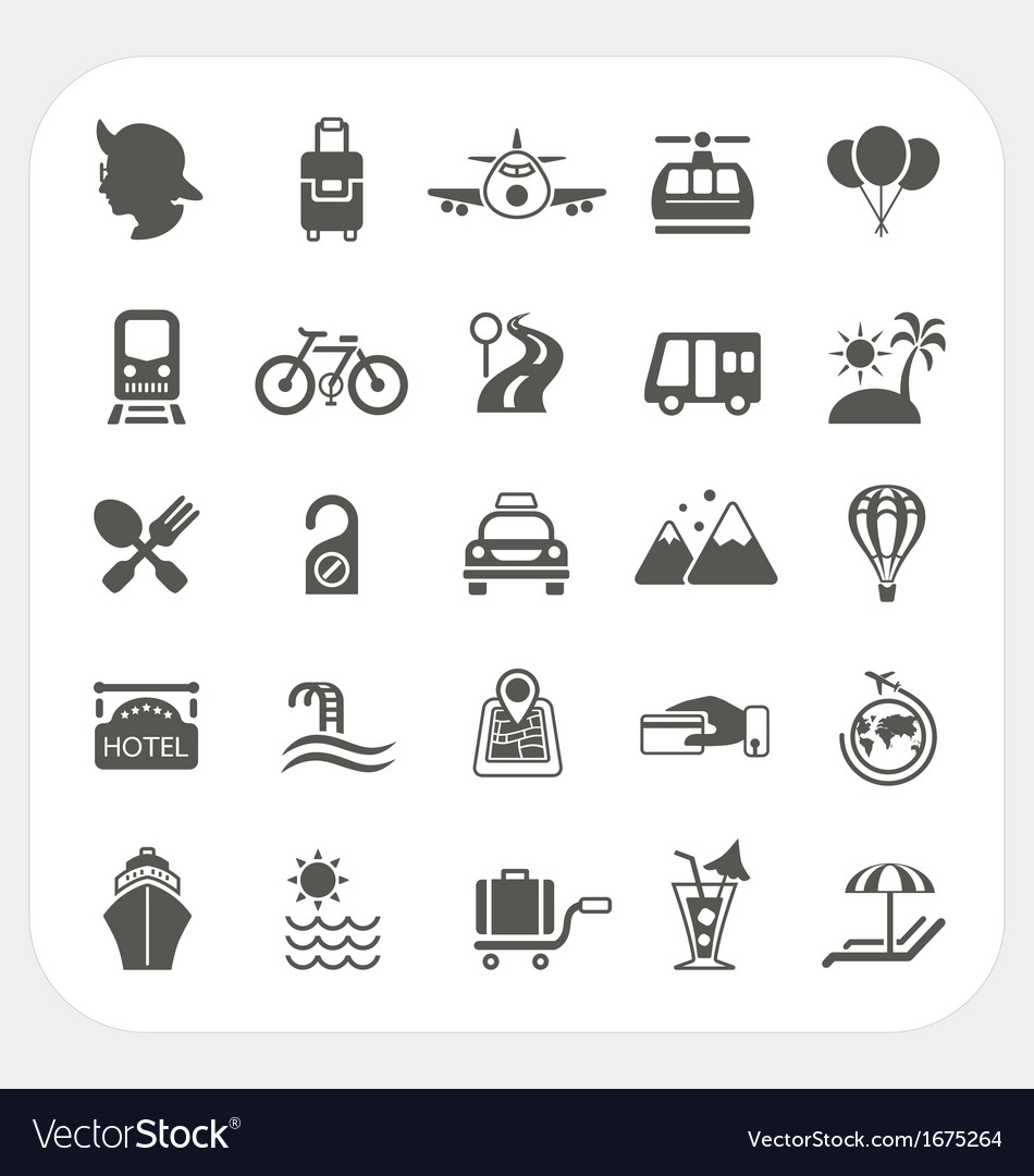 Travel and transportation icon set vector | Price: 1 Credit (USD $1)