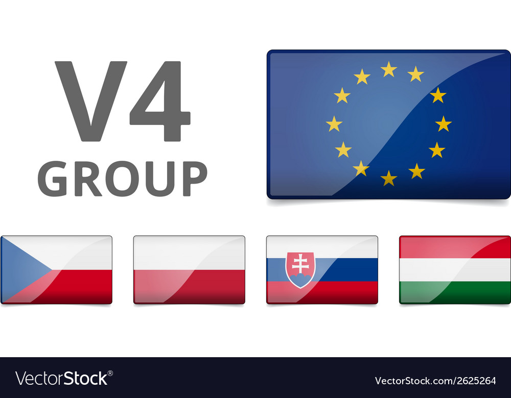 V4 visegrad group country flag vector | Price: 1 Credit (USD $1)