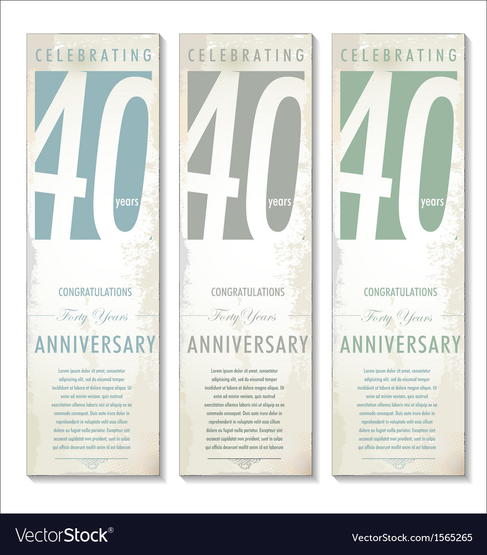 40 years anniversary retro banner set vector | Price: 1 Credit (USD $1)