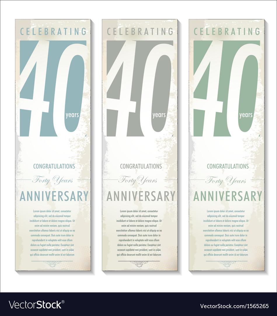 40 years anniversary retro banner set vector   Price: 1 Credit (USD $1)