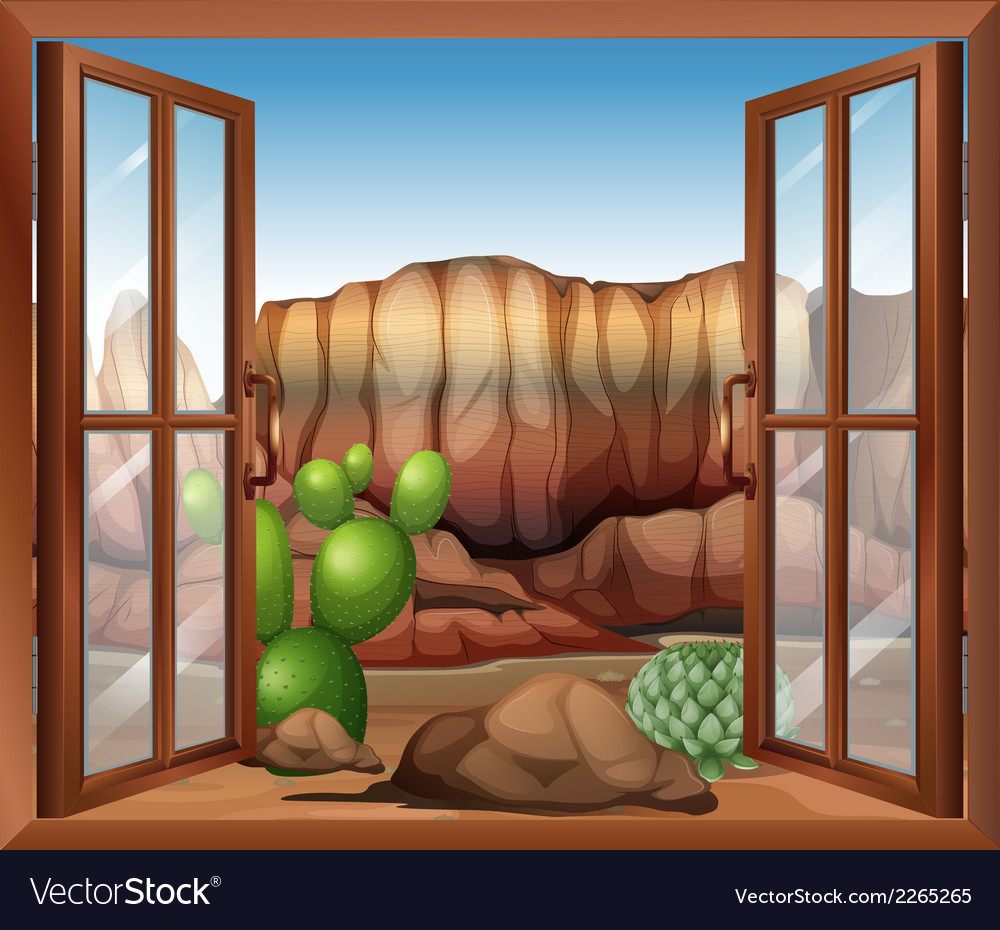 An open window with a view of the desert and the vector | Price: 1 Credit (USD $1)