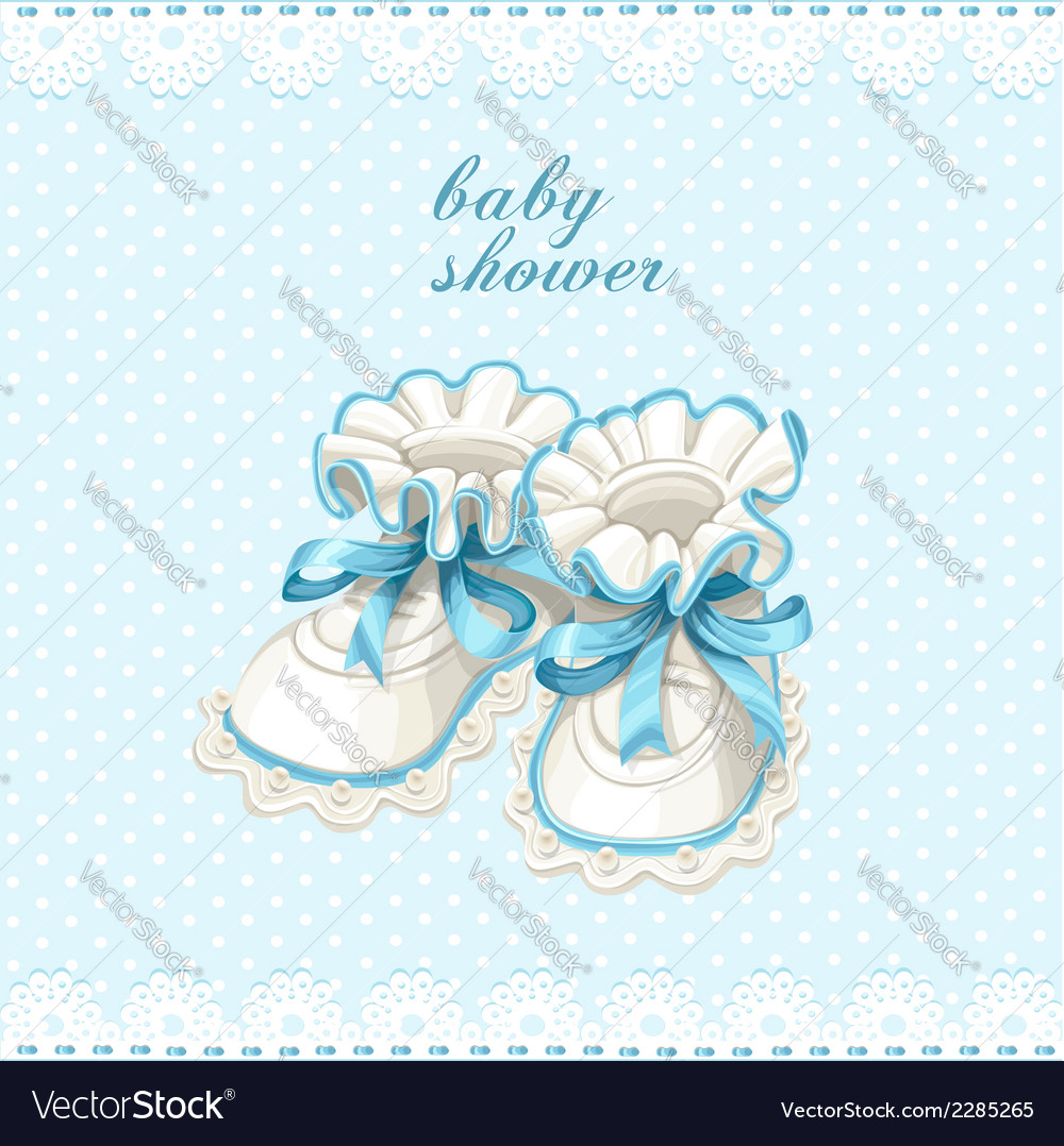 Blue booties baby shower card vector | Price: 1 Credit (USD $1)