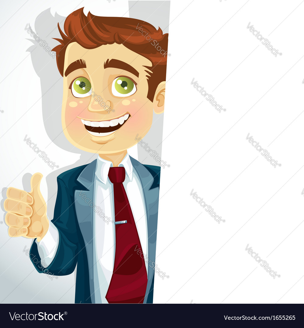 Cute businessman shows ok and hold big banner vector | Price: 3 Credit (USD $3)