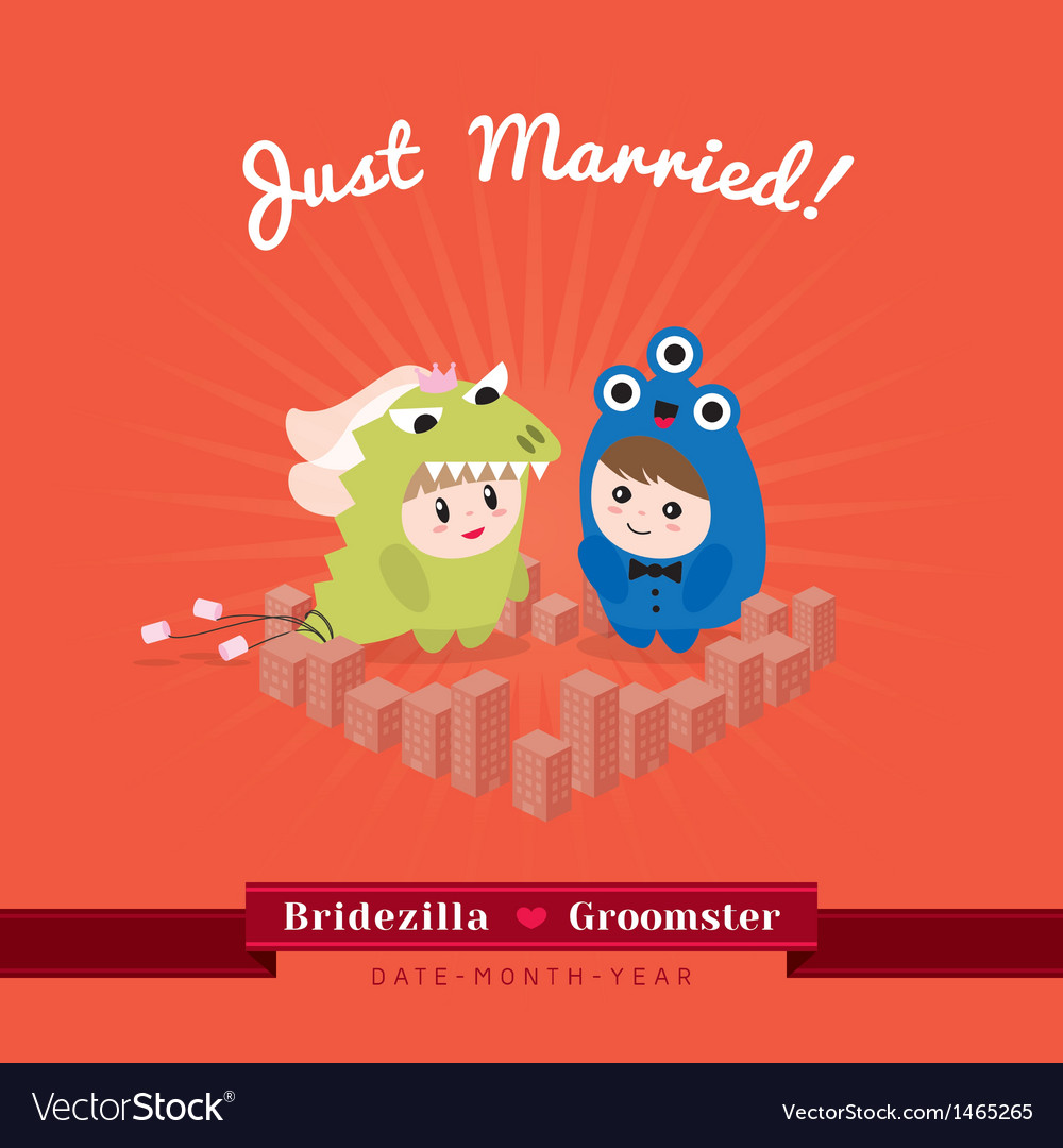 Cute kawaii groom monster and bridezilla character vector | Price: 3 Credit (USD $3)