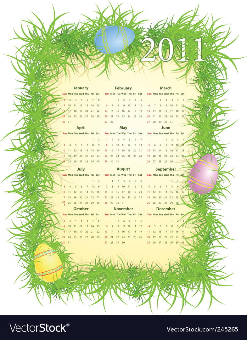 Easter calendar 2011 vector | Price: 1 Credit (USD $1)