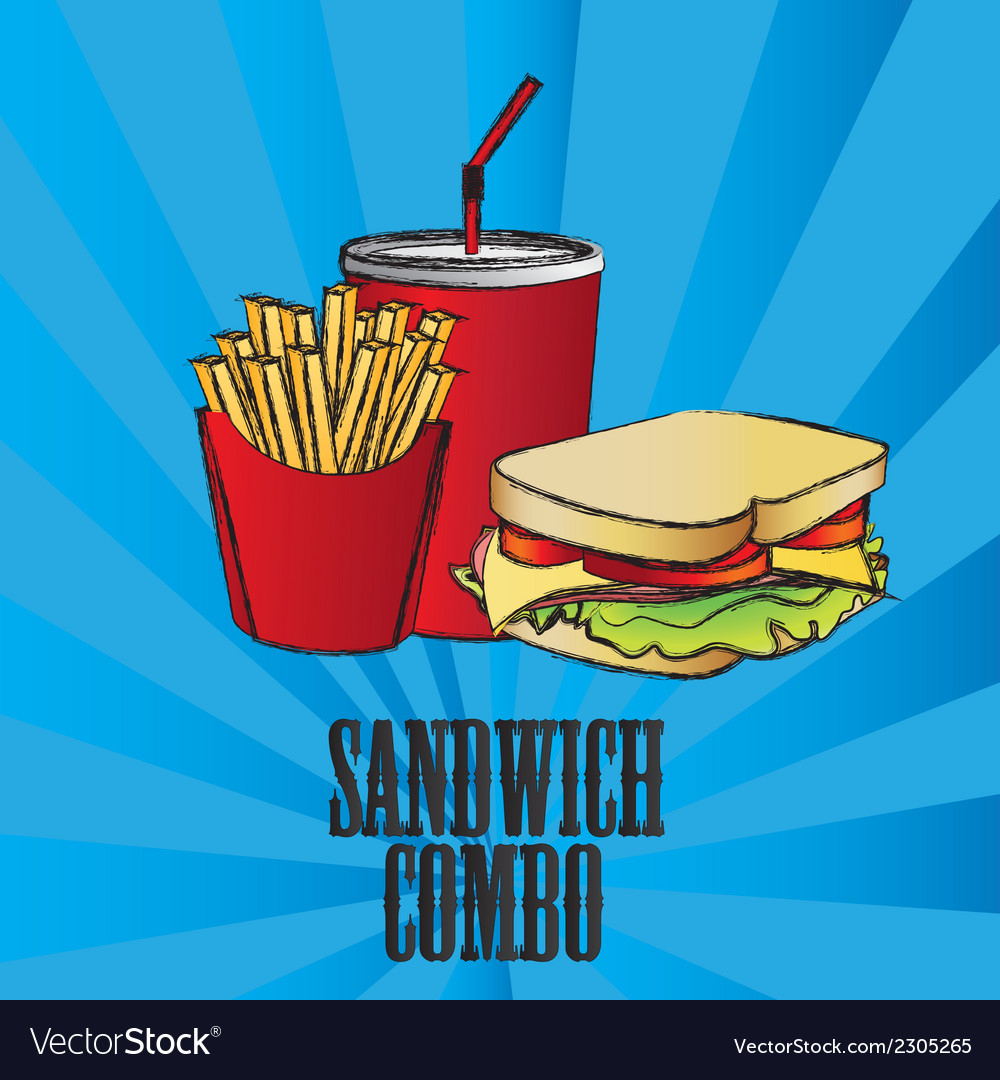 Fast food combo with a sandwich french fries and s vector | Price: 1 Credit (USD $1)