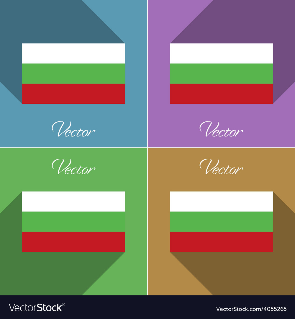 Flags bulgaria set of colors flat design and long vector | Price: 1 Credit (USD $1)