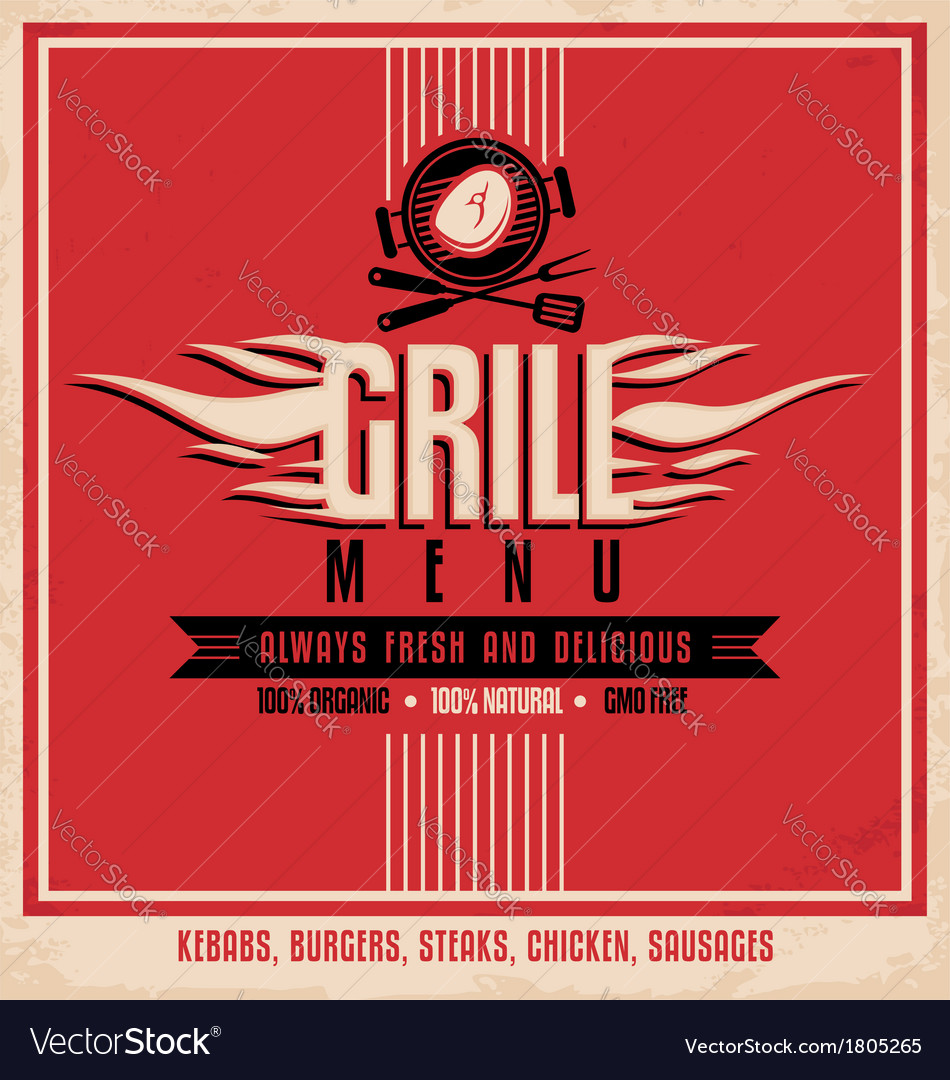 Grill menu retro flyer design template vector | Price: 1 Credit (USD $1)