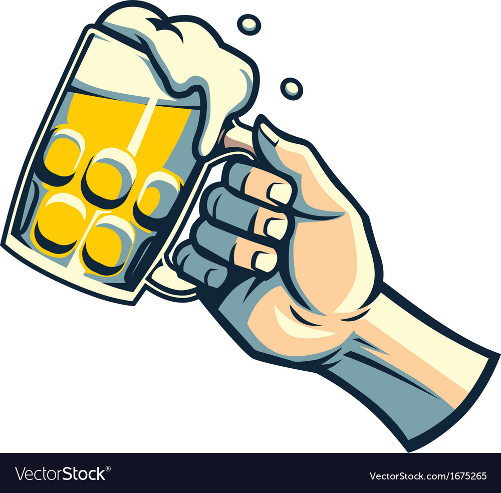 Hand hold a glass of beer vector | Price: 1 Credit (USD $1)