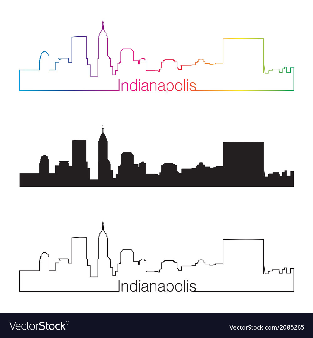 Indianapolis skyline linear style with rainbow vector | Price: 1 Credit (USD $1)
