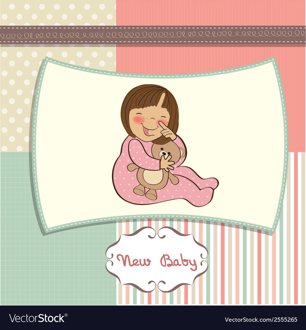 Little baby girl with her teddy bear toy vector | Price: 1 Credit (USD $1)