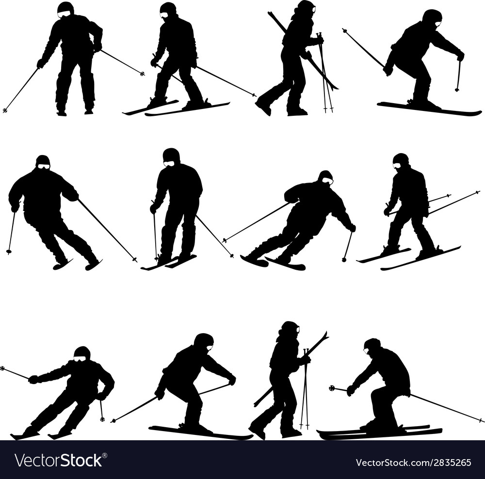 Mountain skier man speeding down slope sport vector | Price: 1 Credit (USD $1)