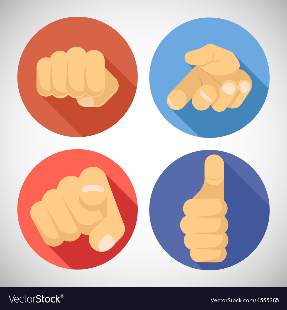 Open palm pleading giving pointing finger tumbs up vector | Price: 1 Credit (USD $1)